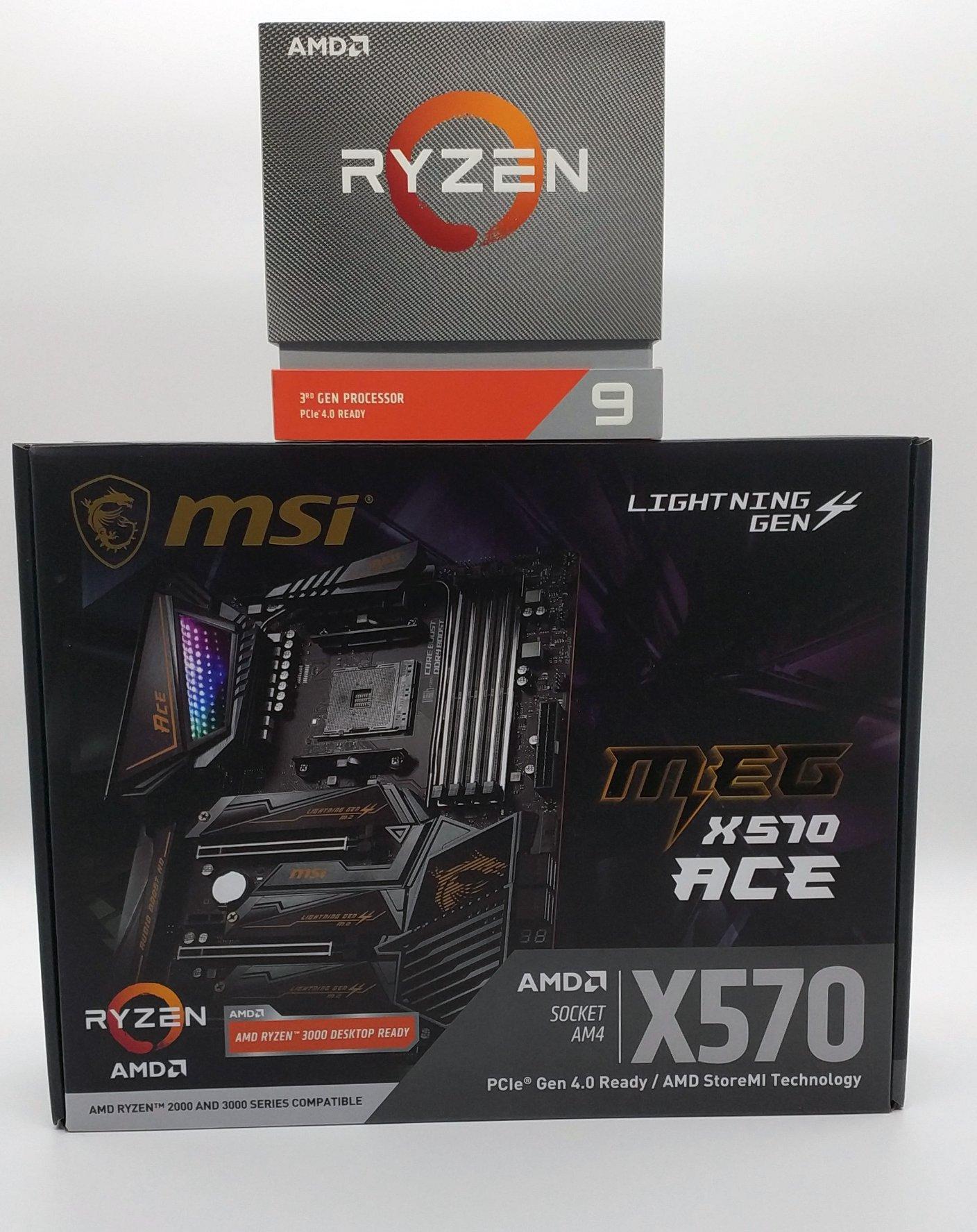 MSI MEG X570 ACE Mainboard samt Ryzen 9 3900X